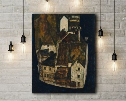 Egon Schiele: Dead City III (City on the Blue River III). Fine Art Canvas.